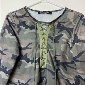 Yoins Camo Tie Up Shirt